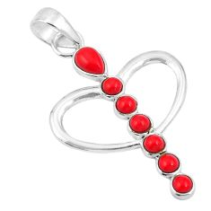 925 sterling silver red coral pear shape pendant jewelry d26727