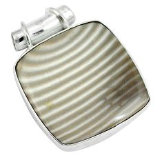 925 sterling silver natural grey striped flint ohio pendant jewelry d26744