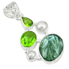 Clearance Sale- Natural green seraphinite (russian) 925 silver pendant jewelry d26752