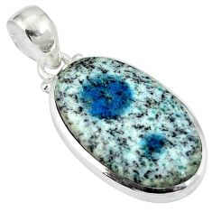 Natural k2 blue (azurite in quartz) 925 sterling silver pendant d26757
