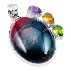 Natural green bloodstone african (heliotrope) 925 silver pendant d26760