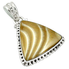 Clearance Sale- Natural grey striped flint ohio 925 sterling silver pendant d26761