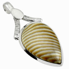 Natural grey striped flint ohio 925 sterling silver pendant d26762