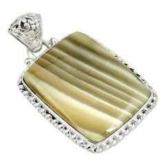 Natural grey striped flint ohio 925 sterling silver pendant d26763