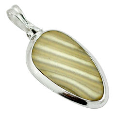 Natural grey striped flint ohio 925 sterling silver pendant d26766