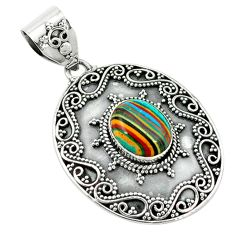 Clearance Sale- Natural multi color rainbow calsilica 925 sterling silver pendant d2677