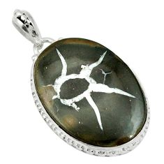 Natural black septarian gonads 925 sterling silver pendant d26771