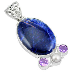 925 sterling silver natural orange sodalite amethyst pendant jewelry d26785