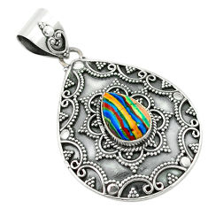 Clearance Sale- 925 sterling silver natural multi color rainbow calsilica pear pendant d2680