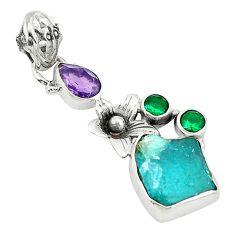 Blue apatite rough emerald quartz 925 sterling silver pendant jewelry d2682