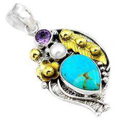 Blue arizona mohave turquoise 925 silver 14k gold pendant d26821