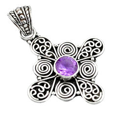 Clearance Sale- Natural purple amethyst 925 sterling silver 14k gold pendant d26825