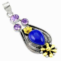 Clearance Sale- Natural blue lapis lazuli amethyst 925 silver 14k gold pendant d26827