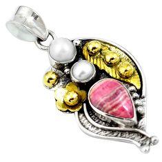 Clearance Sale- Natural pink rhodochrosite inca rose (argentina) 925 silver gold pendant d26834