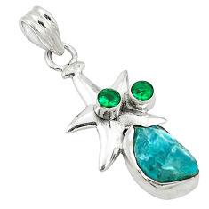 Clearance Sale- 925 sterling silver blue apatite rough emerald quartz star fish pendant d2684
