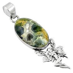 Ocean sea jasper (madagascar) 925 silver angel wings fairy pendant d26848