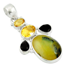 Clearance Sale- Natural yellow opal citrine 925 sterling silver pendant jewelry d26867