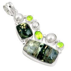 925 silver natural green ocean sea jasper (madagascar) pearl pendant d26875