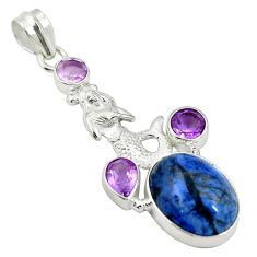 Natural blue dumortierite 925 silver fairy mermaid pendant jewelry d26877