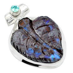 Clearance Sale- Natural brown boulder opal carving topaz 925 silver pendant d26917