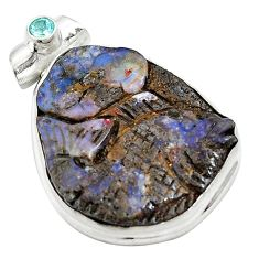 Clearance Sale- Natural brown boulder opal carving topaz 925 silver pendant d26920