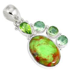 925 sterling silver natural green gaspeite peridot pendant jewelry d26923