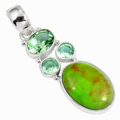 Natural green gaspeite amethyst 925 sterling silver pendant d26924