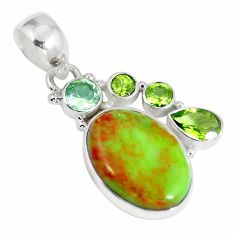 Natural green gaspeite amethyst 925 sterling silver pendant jewelry d26927