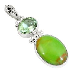 Natural green gaspeite amethyst 925 sterling silver pendant d26928