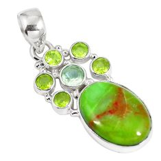 925 sterling silver natural green gaspeite amethyst pendant jewelry d26929