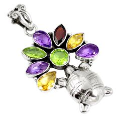 Natural green peridot amethyst 925 silver turtle pendant jewelry d26932
