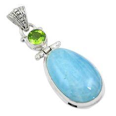 18.15cts natural blue aquamarine peridot 925 sterling silver pendant d26942