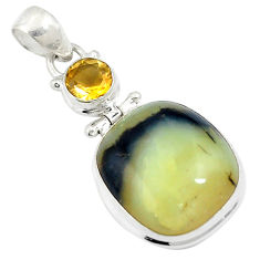 18.70cts natural yellow opal citrine 925 sterling silver pendant jewelry d26951