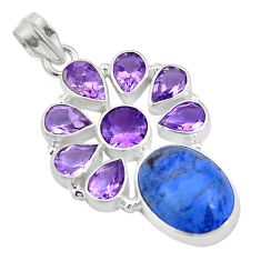 24.07cts natural blue dumortierite amethyst 925 sterling silver pendant d26959