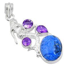 13.46cts natural blue dumortierite 925 silver fairy mermaid pendant d26967