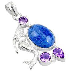 13.05cts natural blue dumortierite 925 silver fairy mermaid pendant d26971