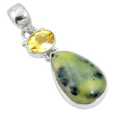 Clearance Sale- 12.18cts natural yellow opal citrine 925 sterling silver pendant jewelry d26973