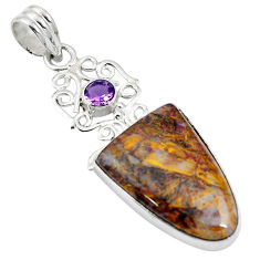 Clearance Sale- 16.20cts natural brown pietersite (african) amethyst 925 silver pendant d26978
