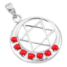 Red coral round 925 sterling silver pendant moon and star chakra d26983
