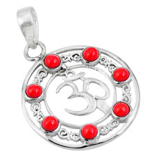 Clearance Sale- Red coral round 925 sterling silver om symbol pendant jewelry d26984