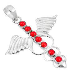 Red coral 925 sterling silver feather charm caduceus pendant jewelry d26989