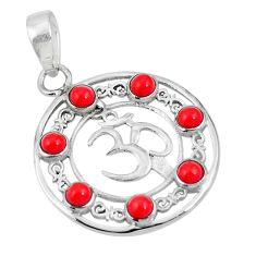 Red coral 925 sterling silver om symbol charm pendant jewelry d26992