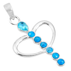 Clearance Sale- Natural blue topaz sleeping beauty turquoise 925 silver heart pendant d26999
