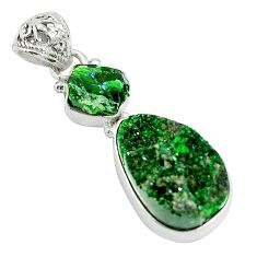 Natural green grass garnet 925 sterling silver pendant jewelry d27035