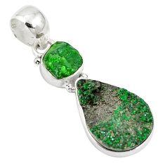 Natural green grass garnet 925 sterling silver pendant d27036