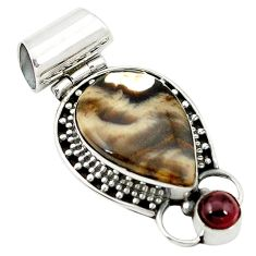 Clearance Sale- 925 silver natural brown peanut petrified wood fossil pendant jewelry d2705