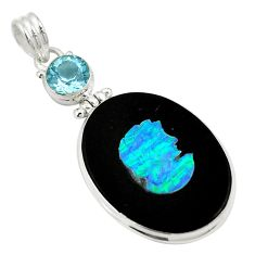 Clearance Sale- Natural black cameo opal on onyx topaz 925 silver pendant jewelry d27055