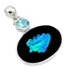 Clearance Sale- Natural black cameo opal on onyx topaz 925 silver pendant jewelry d27056