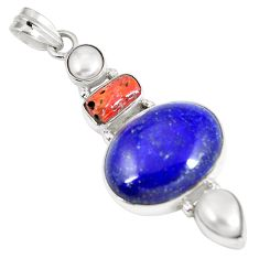 Natural blue lapis lazuli coral 925 sterling silver pendant jewelry d27067