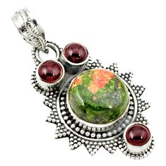 Natural green unakite red garnet 925 sterling silver pendant jewelry d2707